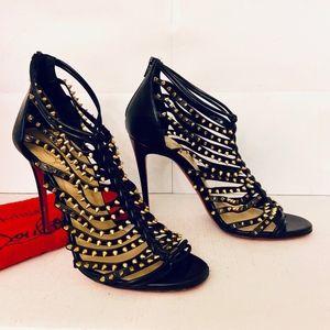 Louboutin MILLACLOU 100 Black Spike Strappy Sandal
